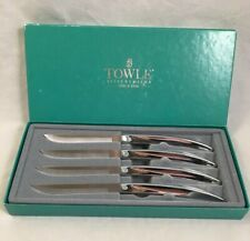 TOWLE USA Silversmiths Stainless Steak Knives Boxed Set Of 4 Mint Condition