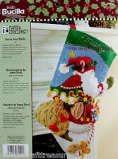 "Bucilla Santa Says Hello ~ 18"" Felt Christmas Stocking Kit #86021 Kris Kringle"