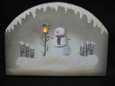 Lantern in Snow Winter Snowman Lighted Canvas Wall Decor Sign Primitive New