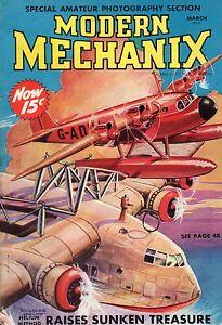 1938 Modern Mechanix March - B-17-Crashproof cars; Pocket magic; air mail stamps