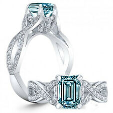 Certified 2.62Ct Emerald Blue Diamond In 14K White Gold Wedding Engagement Ring