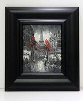 Paris Eiffel Tower Street Scene 8 x 10 Oil Painting on Canvas w/Custom Frame
