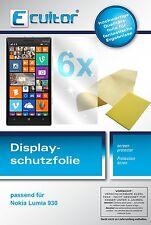 6x Ecultor Nokia Lumia 930 klare Displayschutzfolie Crystalclear unsichtbar