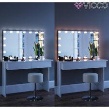 Vicco Table de maquillage Azur commode de coiffeuse LED blanc tabouret + miroir