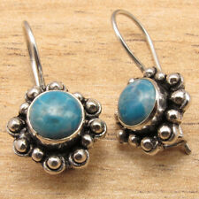 Simulated Larimar Gemstone Well Made Earrings ! Silver Plated Metal Jewelry