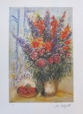 "MARC CHAGALL ""BOUQUET WITH CHERRIES"" Facsimile Signed Ltd Edition Lithograph Art"