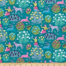 Teal Amy Butler Splendour Folkloric Forest Friends  Free Spirit Fabric 1/2 Yd