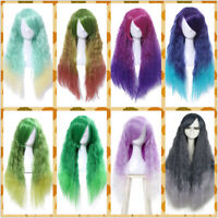 Women Lolita Gradient Colored Wig Rhapsody Ombre Curly Wavy Cosplay Hair Wigs