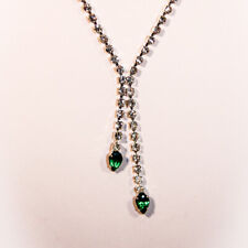 Rhinestone Split Necklace with Emerald Green Ends      1426
