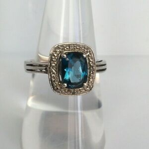 Vintage Blue Tourmaline & Pave Diamond Accent 925 Silver Art Deco Halo Ring