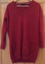 Marks and Spencer Womens Red Cashmere Long Jumper Size 20