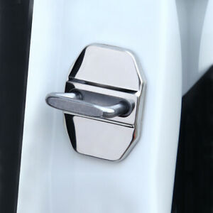 1X CAR DECORATIVE ACCESSORIES Stainless Steel AUTO DOOR LOCK PROTECTIVE COVERS