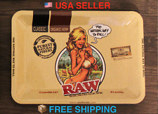 "Raw Girl Tray for Rolling Papers Metal Style Cigarette Hemp Rolling Tray 7""x5"""