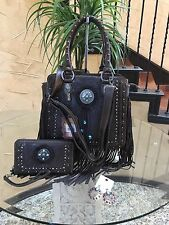 Western Montana West Trinity Ranch Fringe Design Handbag +wallet + Earrings Set