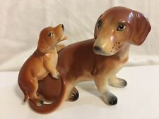 Vintage NAPCOWARE Japan Daschund Dog and Puppy Rare Figurine Life Like Features