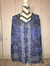 Lucky Brand Top Peasant Tunic Boho Sheer Blue Print Size Large L NWT FLAW