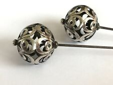 Antique Victorian 1890's pair silver hat pin hatpins. Tops 7/8""