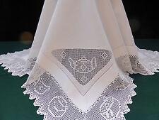 Antique Cotton Tablecloth-Deep Hand Crochet Tea Time-Mmm very nice