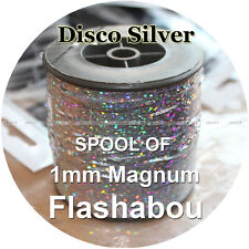 Disco Silver Color, Spool of Magnum Flashabou, 1mm Holographic Tinsel, Flash