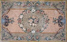 "108""x 72"" Handmade Marble Mosaic Floral Rug Carpet Design Home Art Stone Decor"