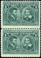 1908 Mint NH Canada F Pair of Scott #97 1c Quebec Tercentenary Issue Stamps