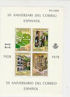 Andorra 1978 50th Anniversary of Mail Mint Never Hinged Stamps Sheet Ref 23845