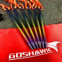6 Pcs Titanium Outdoor Camping Trip Tent Peg Hard Ground Nail Stakes with Bag