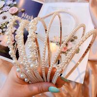 New Fashion Pearl Head Hoop Headband Beaded Bow Girl Sweet Hair Accessories f