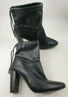 Truffle size 8 (41) black faux leather ankle tie block heel ankle boots