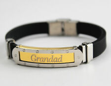 GRANDAD - Bracelet - Mens Silicone & Gold Tone Engraved - Gifts For Him Fashion