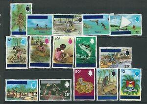 Tuvalu 1976 Primo Sovrastampato Set (Scott 1-15) VF Nuovo senza Linguella L2