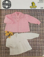 """Sirdar Knitting Pattern 3264 Baby Matinee Coats Breasted DK 19"""" 3-6 Mths Vintage"""