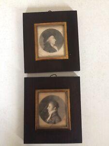 Rare paire de physionotraces fin XVIIIème.