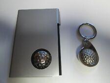 Metal Golf Ball Key Ring & Holder Credit Card or Cigarette