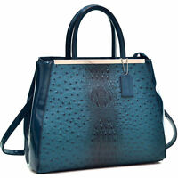 Dasein Women Handbags Faux Ostrich Leather Satchel Tote Shoulder Work Bags