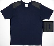 G-STAR RAW MENS XXL CREWNECK T SHIRT RARE 100% LEATHER SHOULDER #10 LOGO BLUE