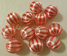 "Vtg Pack of 12 Candy Cane Stripe Satin Christmas Ball Ornaments 1"" 25mm Craft"