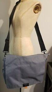 Heavy Duty Nylon Sling Bag Messenger Grey Orange Quality Reinforced Bottom