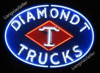 "24"" New Diamond T Trucks Logo REAL GLASS NEON SIGN BEER BAR PUB LIGHT"