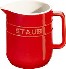 4 Set STAUB céramique petit pot carafe de lait rond rouge cerise 0,25L