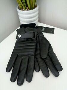 Hugo Boss Black Hetion-TT Leather Gloves with Rib Cuff - size 8  GIFT IDEA!