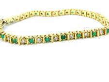 "14k YELLOW GOLD EMERALD AND DIAMOND BRACELET 7"" LONG"