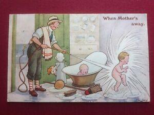F G LEWIN 'When Mother's away' Father, Boy, Baby, Bath, Dog, Hose, Postcard 1925