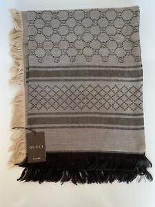 NWT Gucci Beige/Dark Brown Wool/Silk Shawl 544615 14x140 CM Made in Italy