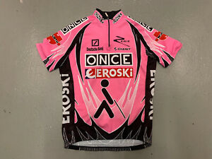 Once Cycling Jersey Men Large Pink Short Sleeve Full Zip Polyester