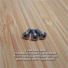 Benchmade 550 551 Full Griptilian Replacement RAW Ti Titanium Pocket Clip Screws