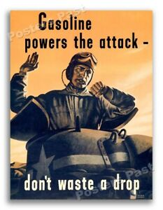 """1940s """"Gasoline powers the attack"""" WWII Historic Tank War Poster - 24x32"""