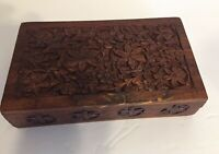 Vintage Carved Wood Jewelry Trinket Box jds