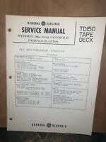 General Electric TD150 Tape Deck -Service Manual-schematics, Parts List.