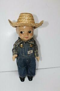 Buddy Lee Composition Doll Union Made Bib Overall Denim Western Shirt Straw Hat